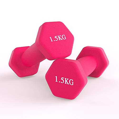 hoinya Hanteln, kurzhanteln 2er Set Kurzhanteln Übung Fitness Hantel für Frauen Männer Kinder (Rosa 2 X 1.5 kg)
