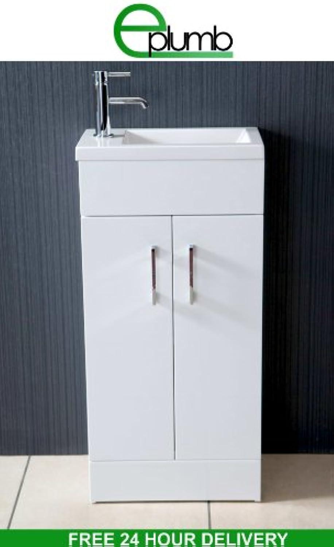 E-Plumb Waschbecken mit Unterschrank, kompakt, rechteckig, für Badezimmer   Waschrume, 40x25cm, Wei