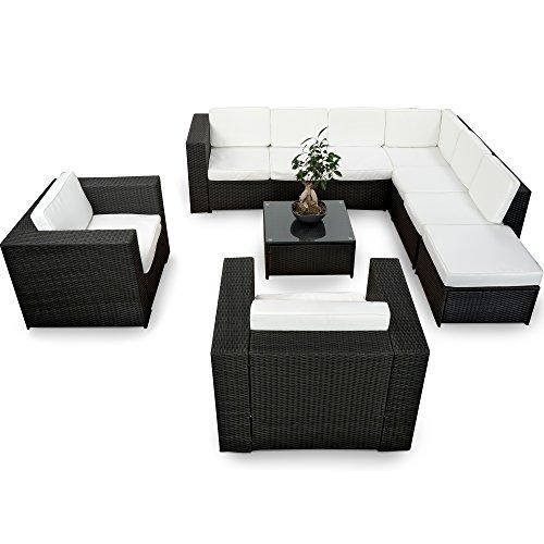 XINRO® XXXL Polyrattan 25tlg. Lounge Set günstig + 2X (1er) Lounge Sessel - Gartenmöbel Lounge Möbel Sitzgruppe Garnitur - In/Outdoor - mit Kissen - handgeflochten - schwarz