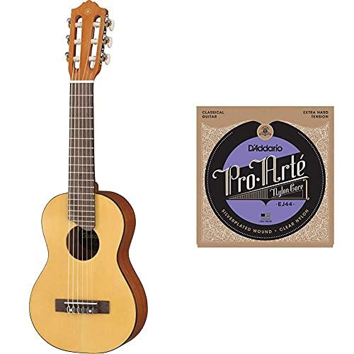 Yamaha Gl1 Guitalele Mini Guitarra De Madera Con Las Dimensiones De Un Ukelele, Escala De 17 Pulgadas, 6 Cuerdas + D'Addario Ej44 Juego De Cuerdas Para Guitarra Clásica De Nylon (Tensión Alta)