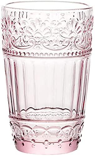 LBBZJM Whisky Tumblers Gafas Escultura Claro de Vidrio Gafas de Agua Copa Tumbler Tallo de Bebidas Tazas Tazas Simple Smoking Wine Copas de Vino Crystal Cerveza Gafas (Color : Pink, Size : 338ML)