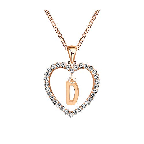 Qiuday Kette Herz Damen Halskette Silber Anhänger Schmuck Zirkonia Kettenlänge Geschenk für Mode Frauen Englisch 26 Brief Name Halsketten Damen-Kette Love Bridge