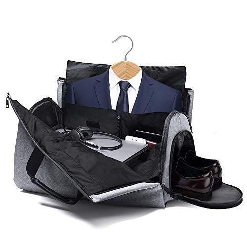 SUVOM Bolsa de viaje Bolsa de viaje Bolsa de viaje Bolsa de equipaje Cambio de bolsa de viaje para hombres Bolsa de vuelo de fin de semana de noche con bolsa de ropa Bolsa de zapatos con correa de hom