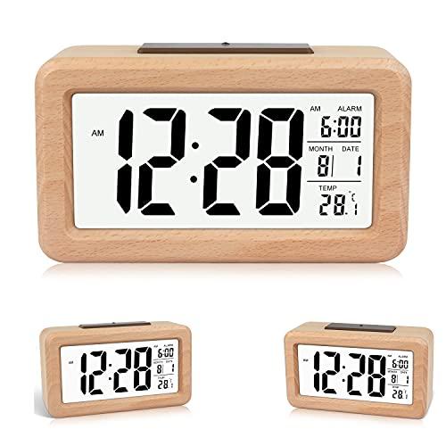 Wecker,Holzwecker der Digitalanzeige,Einfache Einstellung hölzerner digitaler Wecker mit Temperatur, Datum, Hintergrundbeleuchtung, Schlummer, für Schlafzimmer, Bett, Zuhause, Büro, Nicht tickend