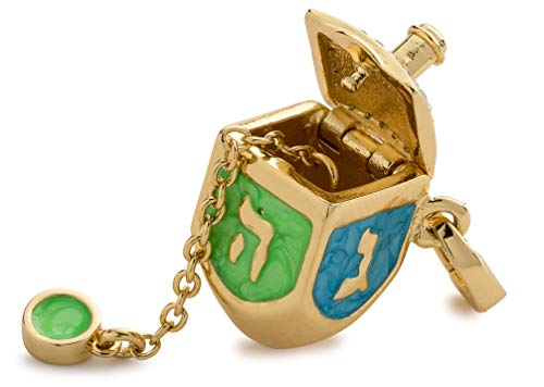 Charmulet Dreidels Bracelet Charms - Hanukkah Dangle Charm 14kt Gold Plated Interactive DIY Craft, Hypoallergenic Necklace Pendants Accessory, Jewelry Gift for Women, Teens, Girls, Box Included (DRDL)