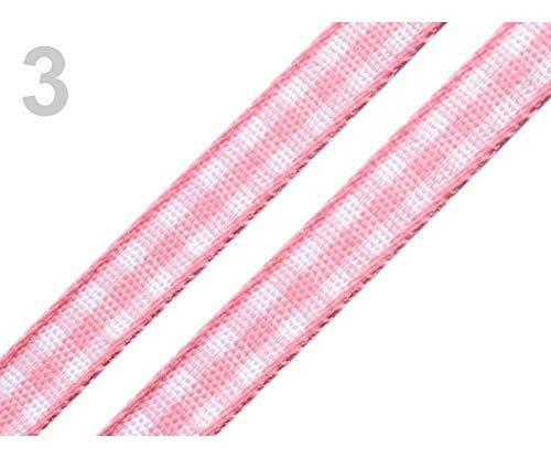20m 3 Puderrosa Band Kariert Breite 7mm, Karobänder, Kurzwaren