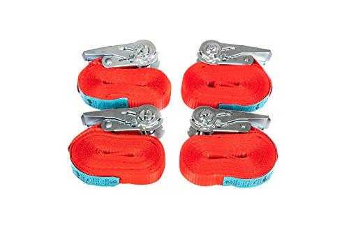Premium Spanngurte mit Ratsche – Spanngurte einteilig – Spanngurte-Set für die schnelle Ladungssicherung auf dem Anhänger – LKW – Transporter – PKW - 4 Stück 25 Millimeter breit 6 Meter lang