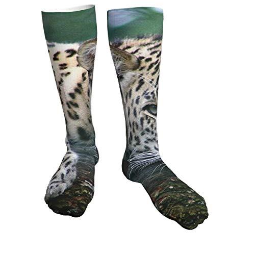 Calcetines deportivos con estampado de leopardo para hombres y mujeres, calcetines gruesos para correr, vuelo, viajes, montañismo