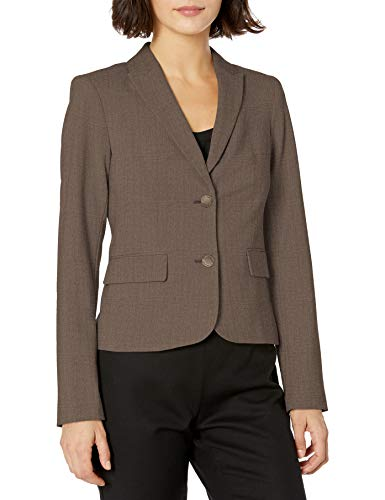 Calvin Klein Women's Two Button Lux Blazer (Standard & Petite covid 19 (Taupe Suit Separates coronavirus)