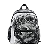 Mochila gótica de México Skull King Ghost para niños y niñas, mochila de viaje de senderismo