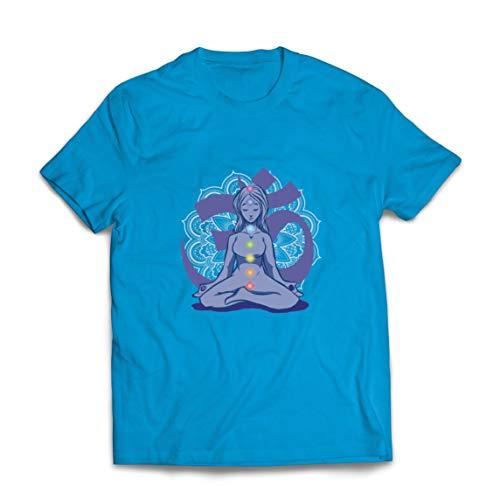 lepni.me Camisetas Hombre Yoga Meditación Namasté Asana Mandala Mente Cuerpo Alma (Medium Azul Multicolor)