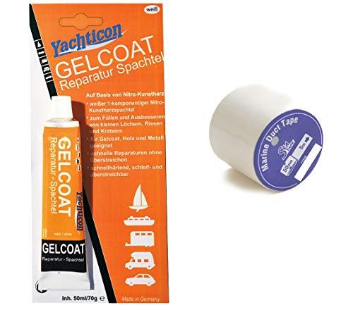 wellenshop Yachticon Gelcoat Reparatur Spachtel Weiß 70 g + Marine-Klebeband weiß 5m x 50mm, Kunstharzspachtel, Spachtelmasse