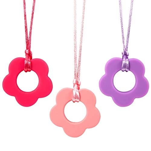 Nearbyme Teether Chewable Necklace for Kids, Boys or Girls, 3 Pack Flower Design Sensory Oral Motor Aids Tooth Toys for Autistic Chewers, ADHD, Baby Nursing or Special Needs