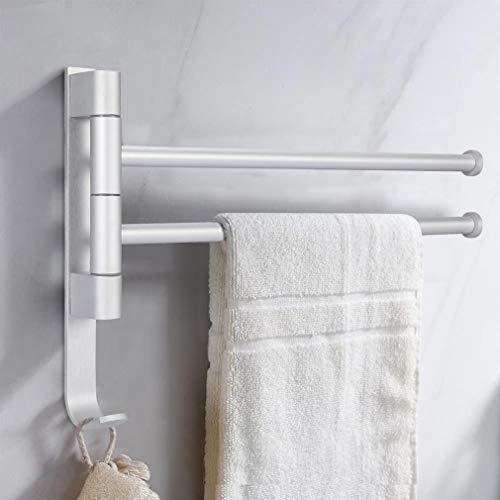 iKINLO Handtuchhalter 2 Arme Handtuchstange ohne Bohren Badetuchhalter aus Aluminium für Drehbar 180° Wandmontage Halterung für Badezimmer Küche [Silber]