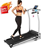 ANCHEER Folding Treadmill, Electric Running Machine with LCD Monitor Motorized,Pulse Grip and Safety...