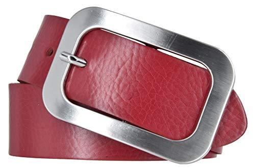 Vanzetti Damen Leder Gürtel Damengürtel rot 40 mm Ledergürtel (105 cm)