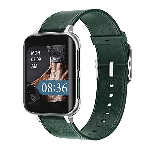 Smart Watch para Hombres y Mujeres 1.78 Pulgadas 420 * 485 Música Bluetooth Llame a SmartWatch para Android iOS Rastreador de Ejercicios Deportivos (Color : Silver Green Leather)
