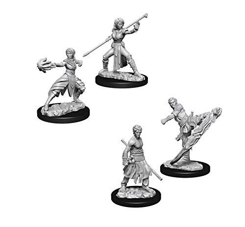 Dungeons & Dragons Nolzur's Marvelous Unpainted Miniatures Bundle: Male Half-Elf Monk W10 + Female Half-Elf Monk W10