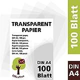 Foglio di carta trasparente A4 OfficeTree  100 fogli di carta trasparente A4 - 100 g/mq alta qualità bianchi - disegno, fai-da-te, biglietti di invito, menù, buoni, auguri - stampabili su ambo i lati