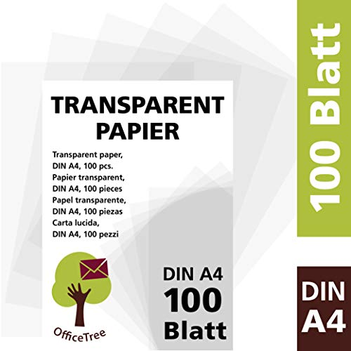 OfficeTree 100 hojas papel transparente DIN A4 - 100