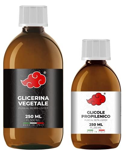 NINDO Kit 500ml 50VG/50PG (Glicerina Vegetale e Glicole Propilenico) di Grado Farmaceutico Certificato | 100% Made in Italy | Privo di OGM e Allergeni