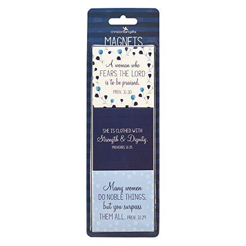 "Christian Art Gifts Blue Flower Refrigerator Magnets   Proverbs 31 Woman Bible Verse   Prayers For A Mom's Heart Collection Inspirational Fridge Magnet Set/3-2.5"""
