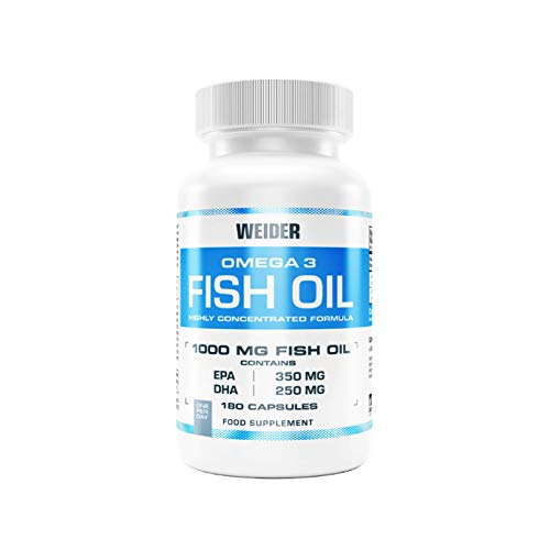 (New!) Weider Omega 3 Fish Oil 1000 mg softgel Capsules, high EPA + DHA Content, 180 Capsules, 5 Month Supply