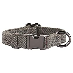 Thoroughbeds Dark Grey Herringbone Tweed Dog Collar Available in a choice of sizes: extra small - Small - Medium - Large Soft, dark grey fabric provides a comfortable fit - Perfect for puppies as well as for miniature and small to medium breeds Doubl...
