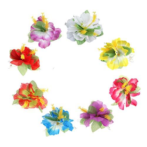 Hawaii - Juego de 8 pinzas para el pelo con flor de hibisco para novia, fiesta, viaje, cinta para el pelo, accesorios para el cabello de boda