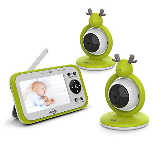 "JLB7tech Video Baby Monitor with 2 Digital Cameras,4.3""LCD Display,Automatic Night Vision,Two-Way Talkback,Temperature Detection,Power Saving/Vox,Zoom in Lens,Support Multi-Camera"