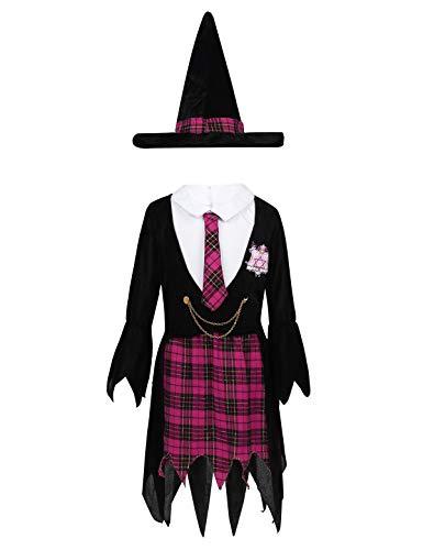 TiaoBug Mädchen Hexenkostüm für Kinder Halloween Weihnachten Kostüm Mädchen Hexenkleid und Hut Schuluniform Stil Schwarz &Rose Red 116-128/6-8Jahre