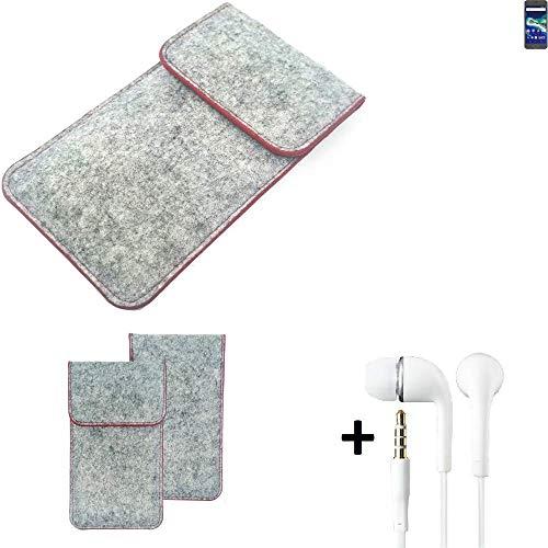 K-S-Trade® Handy Schutz Hülle Für General Mobile GM 6 Schutzhülle Handyhülle Filztasche Pouch Tasche Hülle Sleeve Filzhülle Hellgrau Roter Rand + Kopfhörer
