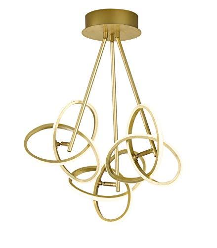 LED Deckenleuchte 3-Flammig Abhängung 13 W Ringe Verschlungen In Blattgoldoptik