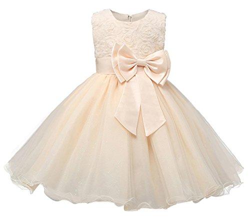 FEOYA - Vestido de Bautizo Recién Nacido Bebés sin Mangas Verano Transpirable Traje de Ceremonia Boda para Niñas Vestido de Princesa Elegante con Lazos Wedding Dress for Girl Cumpleaños