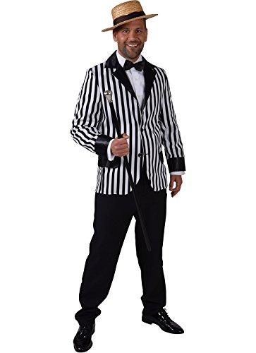 Panelize Streifenjacket Jazz Dixie Streifenblazer Jacket schwarz-weiß + Fliege (M)