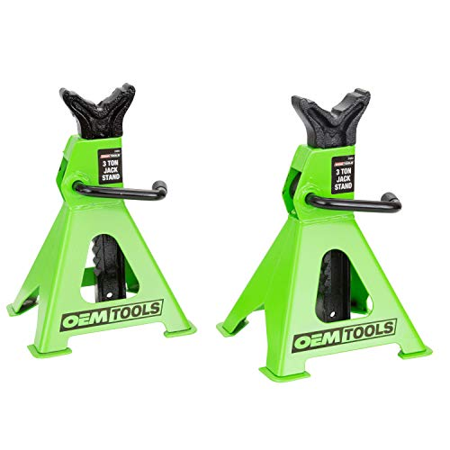 OEM TOOLS 24852 3 Ton Capacity Jack Stands, Set of Two (2), Automotive Jack Stands High Lift, Self-Locking Ratcheting Jack Design for Quick Adjustments, Green