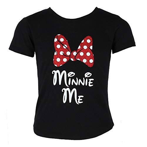 Disney Minnie Me Red Sparkle Polka Dot Bow T-Shirt for Daughters (Girl's, Extra Small)