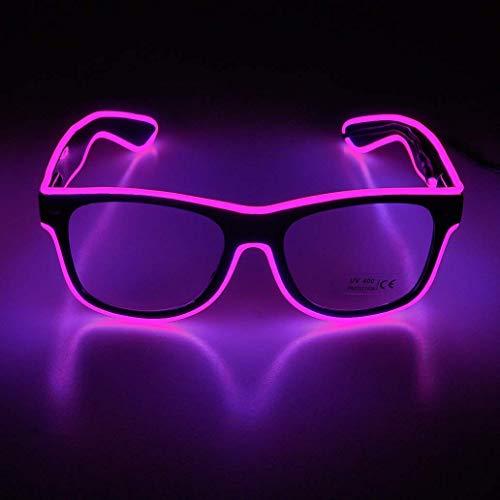 KingCorey Leuchten Sie EL Wire Neon Rave Brille Glow Flashing LED Sonnenbrille Kostüme für Party, EDM, Halloween (Pink)