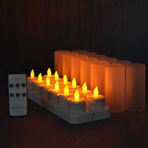 Energibesparande lampor-fjärrstyrda LED-ljus flimrande frostad uppladdningsbara värmeljus/elektronik ljuslampa jul högtidsbar uppsättning 12 stycken