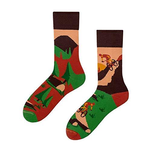 TIANKONG Mens Socks Mountain Bike Printed 3 Pairs Trend Creative Art Novelty Crew Long Tube Casual Harajuku Hip Hop Skateboard Socks Streetwear Couple