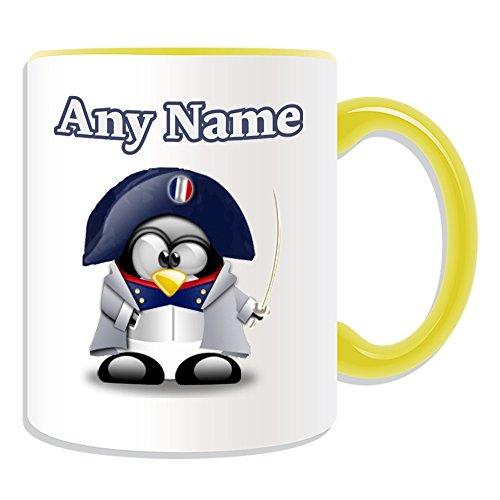 UNIGIFT - Taza de regalo personalizable, diseo de personajes de Napolen Bonaparte (historia de pingino, color de disfraz)
