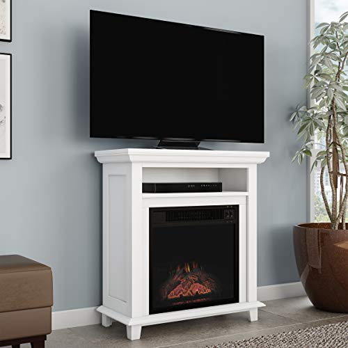 """Northwest 80-FPWF-2 (White) Electric Fireplace TV Stand– 29"""" Freestanding Console with Shelf, Faux Logs and LED Flames, Space Heater Entertainment Center, 27""""x12.4""""x29"""""""