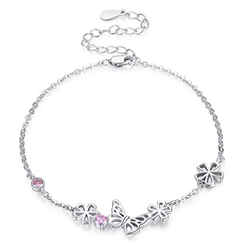 Pulsera de mariposa para mujer, pulsera de animales de plata de ley 925, joyería de cristal para niñas, pulsera de flores, brazalete de mariposa para niños