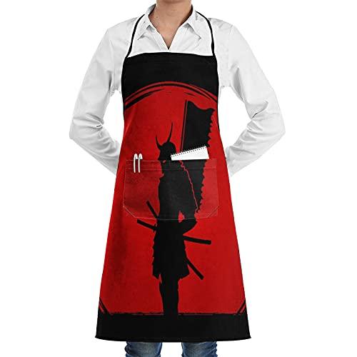 ASNIVI Delantal de cocina impermeable para hombres delantal de chef para mujeres restaurante de jardinería barbacoa cocinar hornear,Samurai de pie sobre gráfico de fondo de luz solar