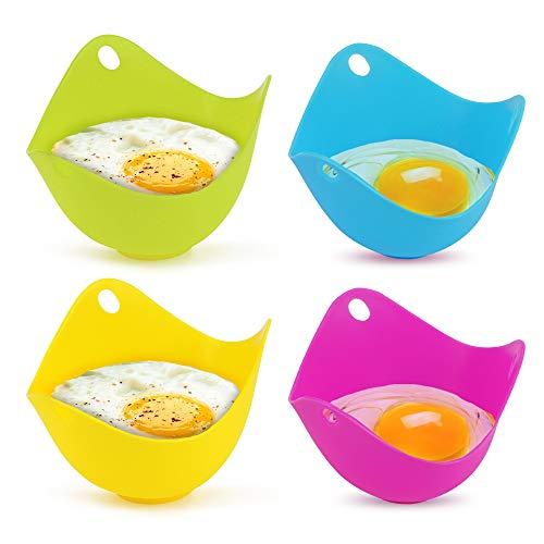 Eier Kochen yidenguk 4er Eier Dampfgarer Silikon Egg Poacher molds für Eierpfanne, Kochgeschirr, Dampfkessel, Mikrowelle