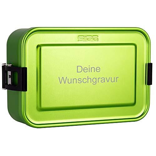 SIGG Lunchbox mit Gravur personalisiert in grün | leichte Brotdose aus Aluminium, BPA frei, auslaufsicher, mit herausnehmbarer Trennwand, perfekt geeignet für Schule, Kindergarten oder für die Arbeit