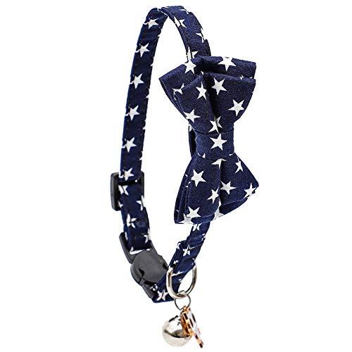 MARIJEE Collar de gato a cuadros de algodón con lazo, ajustable para el día de San Valentín, collar de gato con pajarita y hebilla de liberación de seguridad para gatos y algunos cachorros (azul)