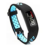 T-BLUER Compatible for Garmin Vivofit 2 Strap,Silicone Colorful Replacement Wristband Bracelet Accessory for Garmin Vivofit 2 Fitness Band Small Large,Black Blue(No Tracker Included)