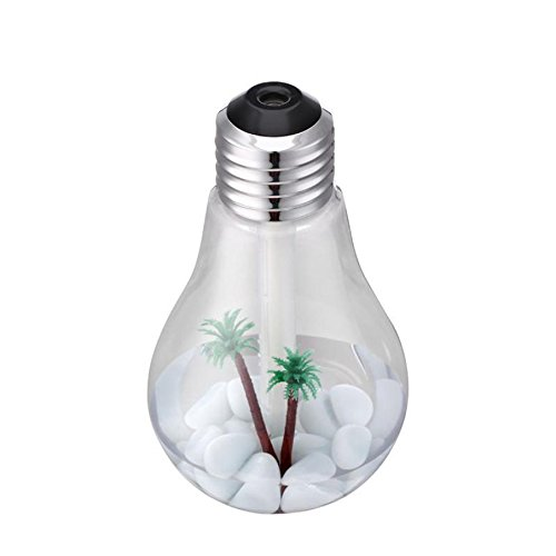 YL Humidificador de la Bombilla Humectador Del Usb Mini Creativo Noche Luz Purificador Del Aire Hidratante Reabastecimiento,Plata