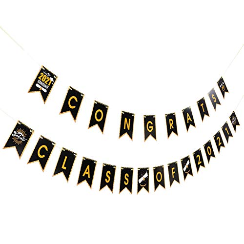 VALICLUD 2pcs Congrats Grad Class of 2021 Banner Graduation Paper Bunting Garlands Rustic Party String Flags for Doctor Nurse MBA Lawyer College Graduation Party Supplies Black